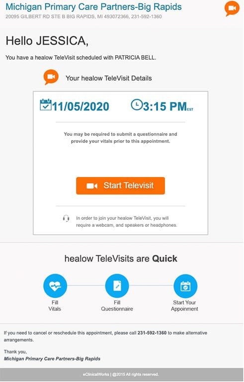 Telehealth Email For Web